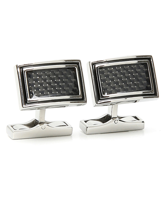 STAINLESS STEEL CUFFLINKS WITH BLACK CARBON FIBER AND ENAMELED MIDDLE