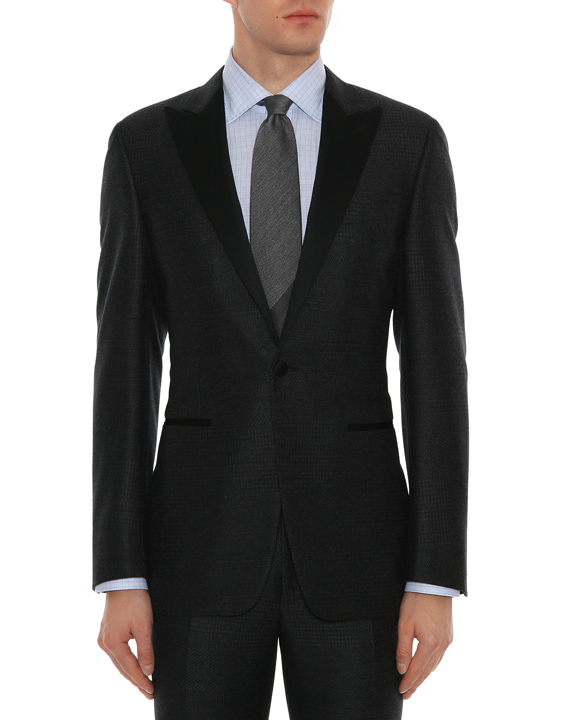 DARK GRAY WOOL HOUNDSTOOTH TUXEDO JACKET