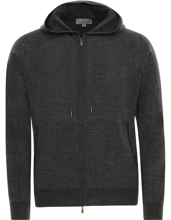 Dark gray merino wool hooded zip-up sweater