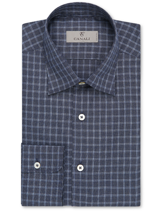 Blue cotton slim fit shirt with overcheck