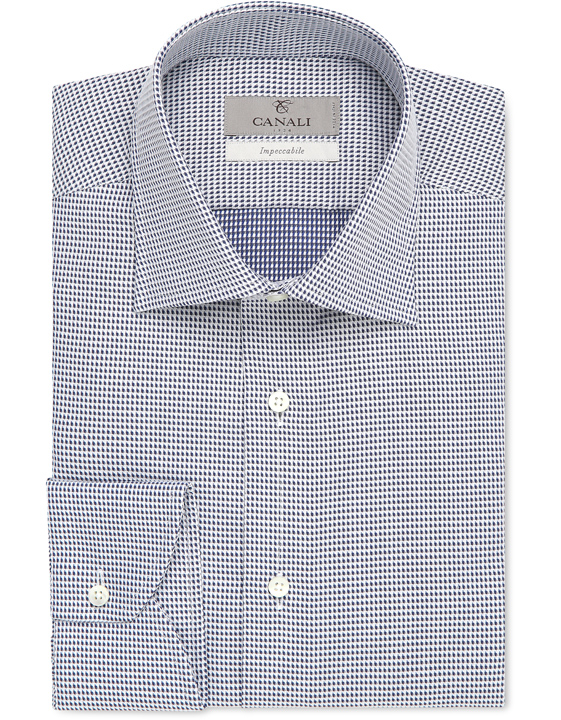 Blue and white Impeccabile cotton dress shirt with houndstooth motif