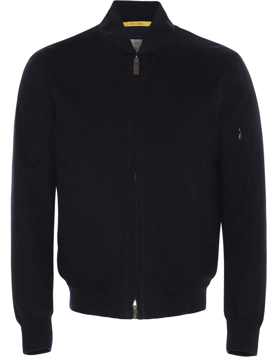 BLUE SUPER 170S WOOL AND CASHMERE BOMBER JACKET