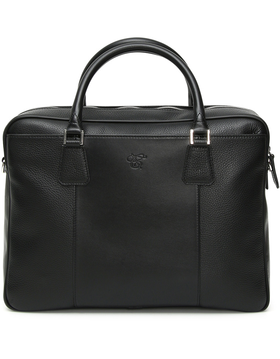 BLACK TUMBLED CALFSKIN LEATHER BAG WITH TWO HANDLES