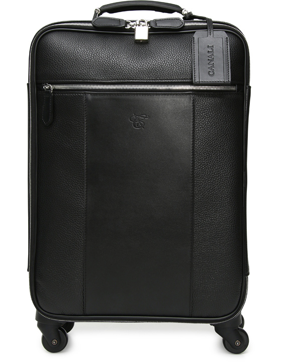 Black Tumbled Calfskin Leather Spinner Suitcase