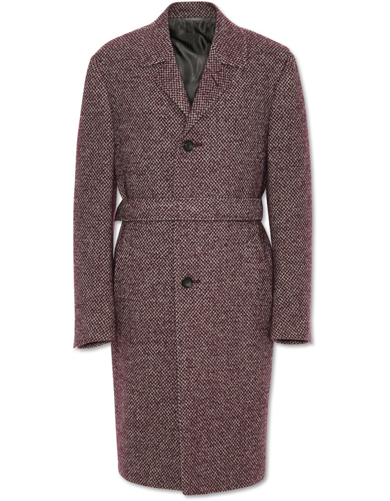 BORDEAUX AND BEIGE WOOL-ALPACA OVERCOAT WITH TOP CONSTRUCTION