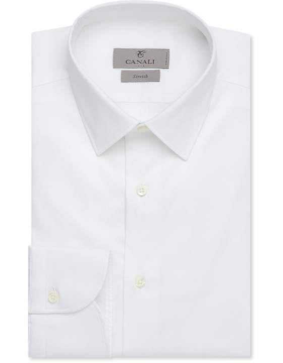 White stretch cotton slim fit dress shirt