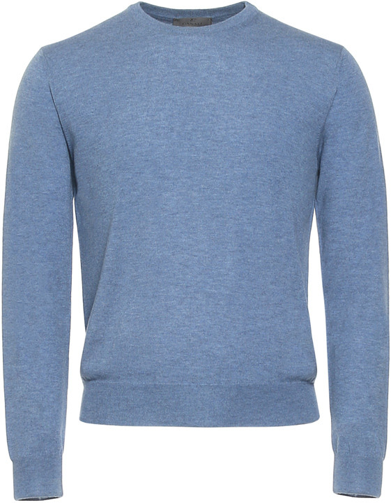 Blue-gray Cashmere Crew Neck Sweater