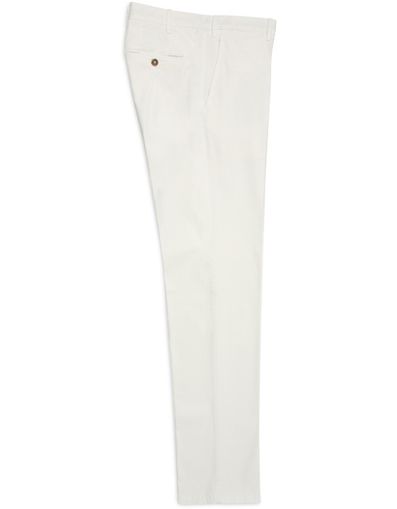 White cotton and silk twill chino pant