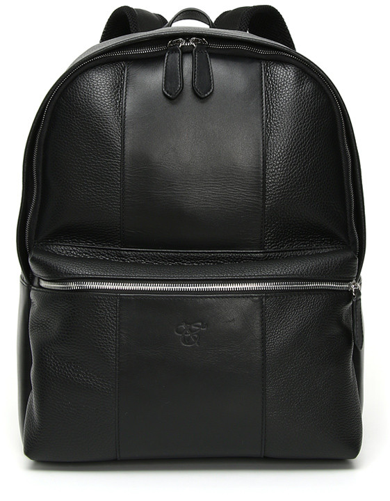 Black Tumbled Calfskin Leather Backpack