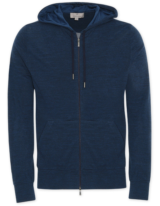 Blue technical wool hooded sweatshirt