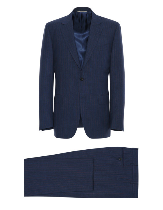 NAVY BLUE IMPECCABILE WOOL PINSTRIPE VENEZIA SUIT