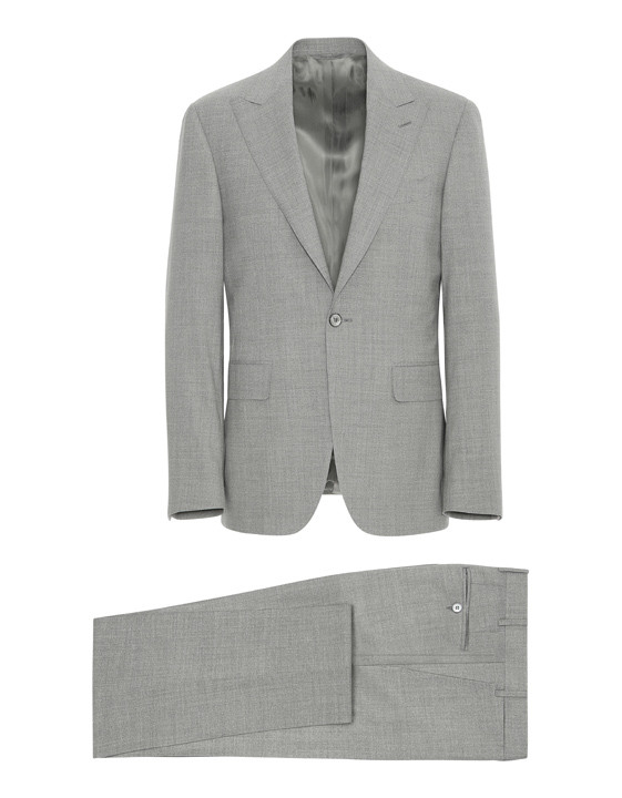 LIGHT GRAY IMPECCABILE 2.0 WOOL CAPRI CHECK SUIT