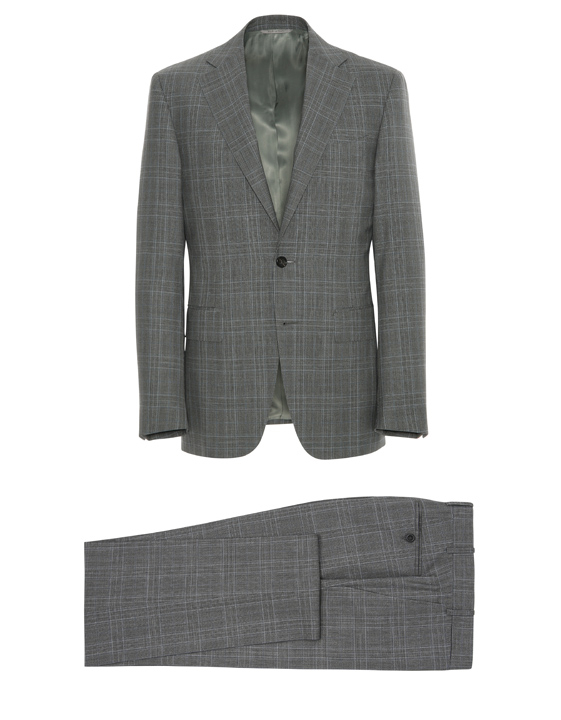 GRAY PRINCE OF WALES IMPECCABILE WOOL SUIT