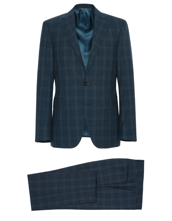 PETROL BLUE PRINCE OF WALES IMPECCABILE WOOL CAPRI SUIT