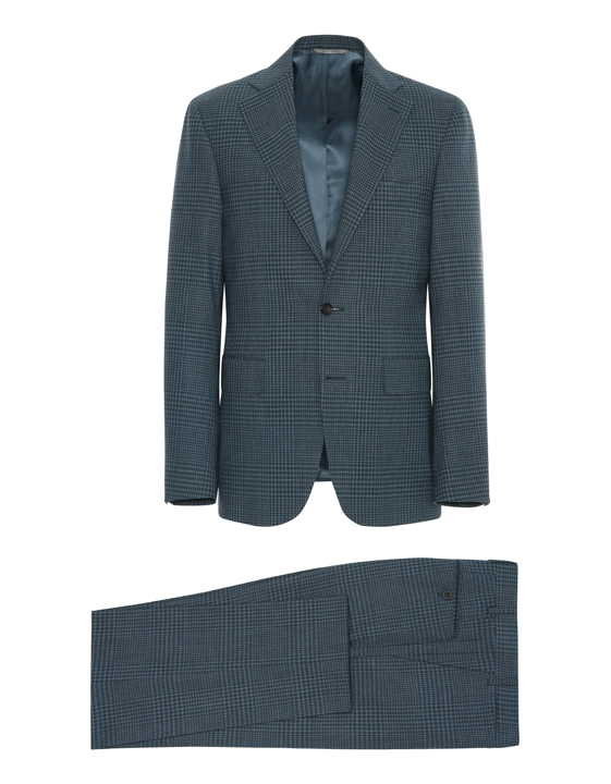 Steel blue Impeccabile 2.0 wool Capri check suit