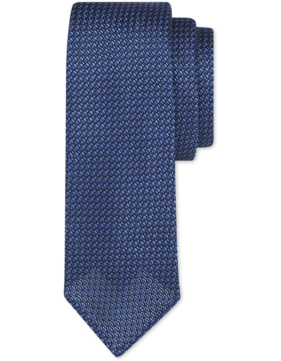 COBALT BLUE PURE SILK UNLINED TIE WITH MESH TEXTURE