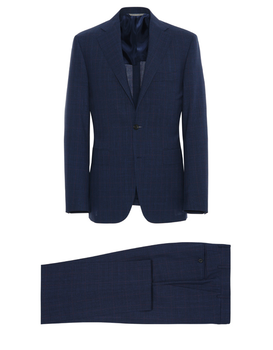 NAVY BLUE PRINCE OF WALES IMPECCABILE WOOL CAPRI SUIT WITH RED OVERCHECK