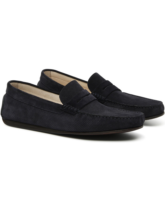 NAVY BLUE SUEDE LEATHER PENNY DRIVING LOAFERS