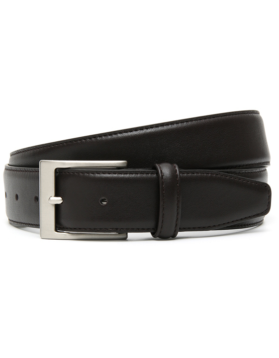DARK BROWN CALFSKIN LEATHER BELT