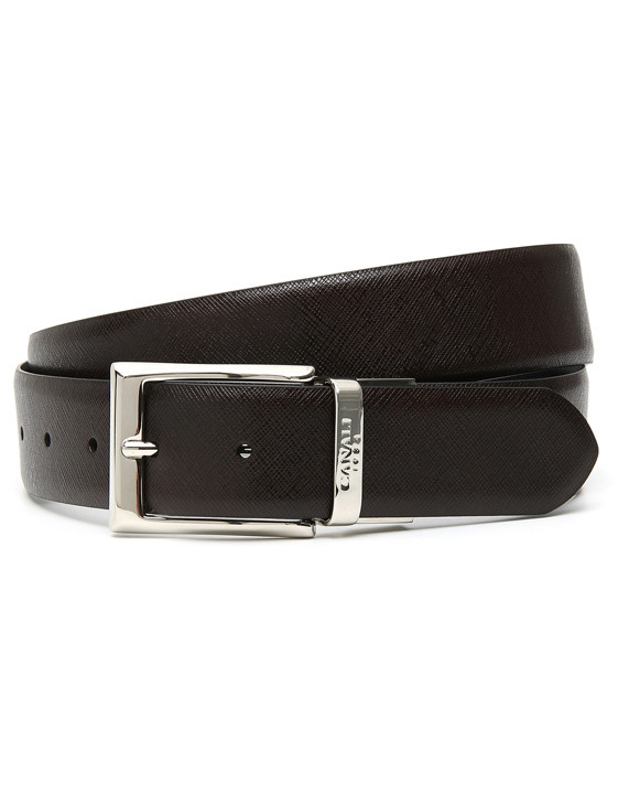 BROWN AND BLACK REVERSIBLE CALFSKIN LEATHER BELT