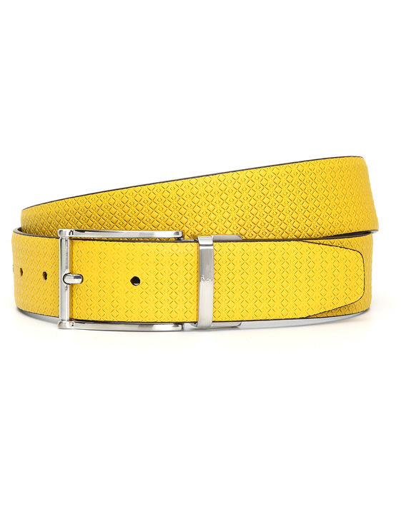 REVERSIBLE YELLOW LEATHER BELT WITH CANALI TEXTURE