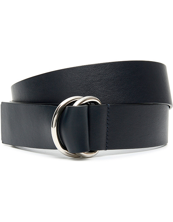 DARK BLUE LEATHER BELT WITH DOUBLE RING - ONLINE EXCLUSIVE