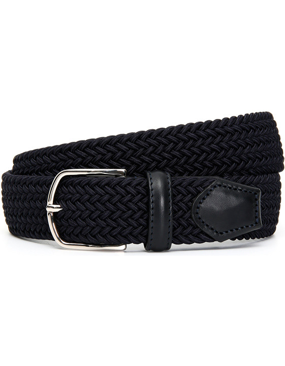 Navy blue braided belt with leather inserts