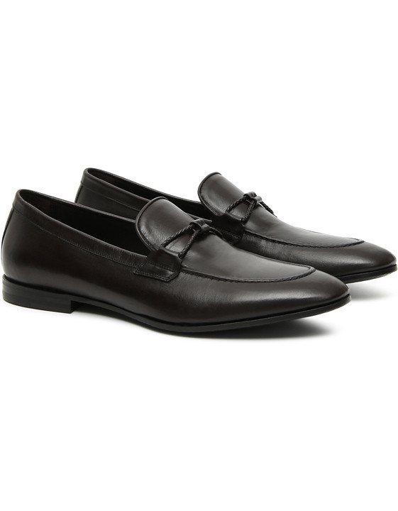 BROWN KANGAROO LEATHER LOAFERS