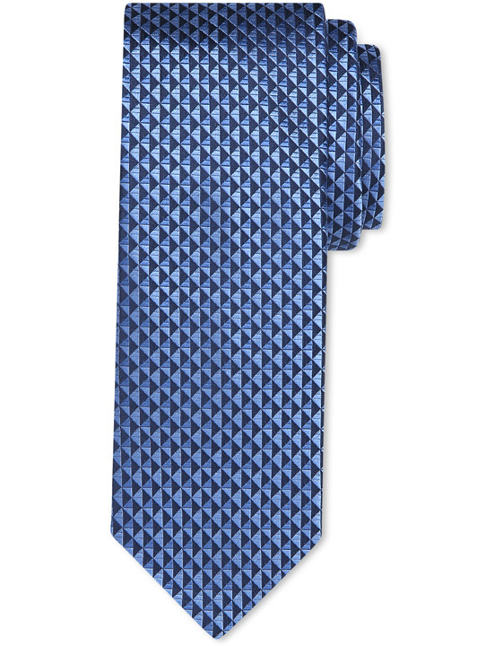 COBALT BLUE PURE SILK TIE WITH GEOMETRIC MOTIF