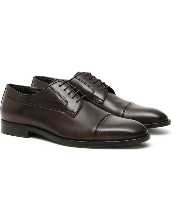 DARK BROWN HAND-BUFFED LEATHER DERBY SHOES