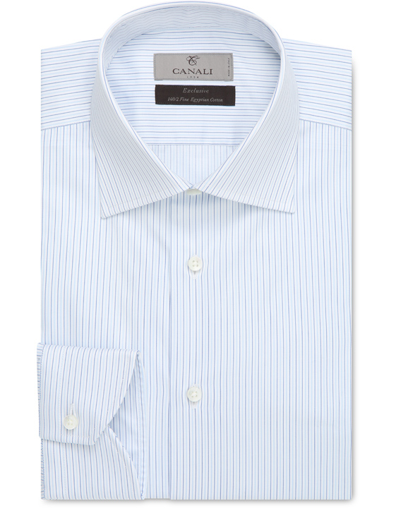 Exclusive cotton dress shirt with blue and light blue micro-stripes