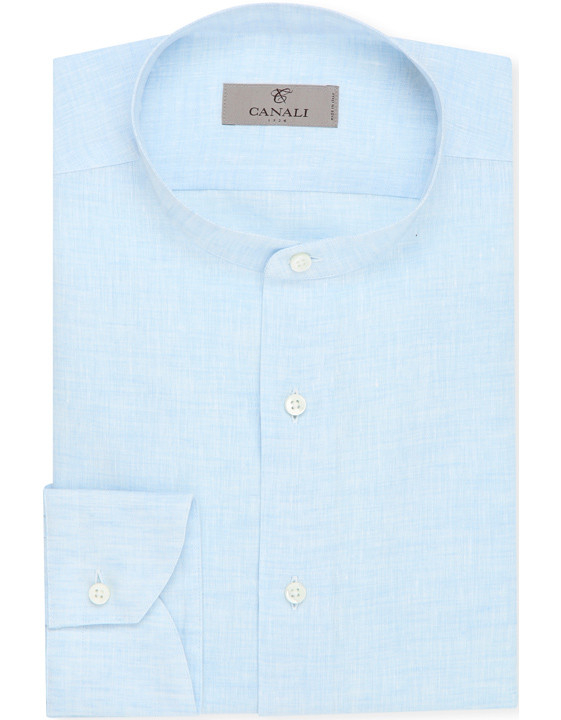 LIGHT BLUE PURE LINEN SHIRT WITH MANDARIN COLLAR