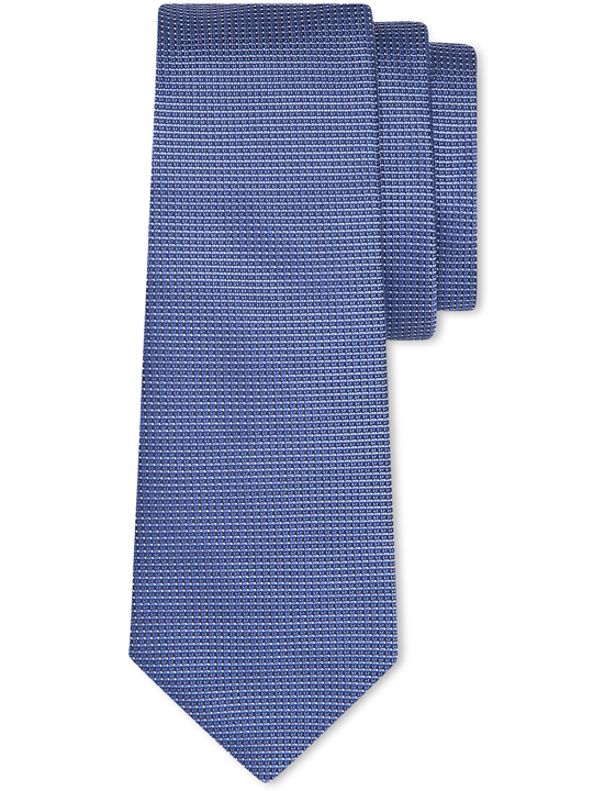 Blue pure silk tie with white pin-dot motif