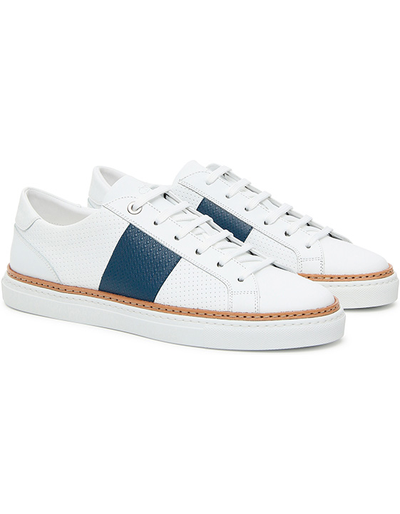 WHITE LEATHER LOW-TOP SNEAKERS WITH NAVY BLUE STRIPE
