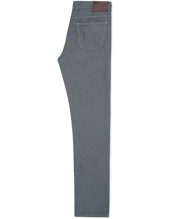 BLUE-GRAY STRETCH COTTON 5-POCKET PANTS WITH BIRDS-EYE MOTIF