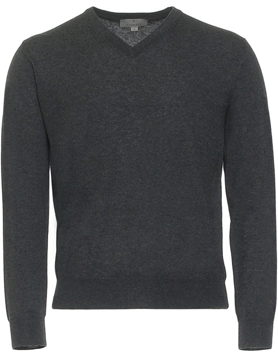 CHARCOAL GRAY CASHMERE V-NECK SWEATER
