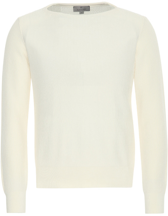 WHITE COTTON CORDUROY BOAT NECK SWEATER