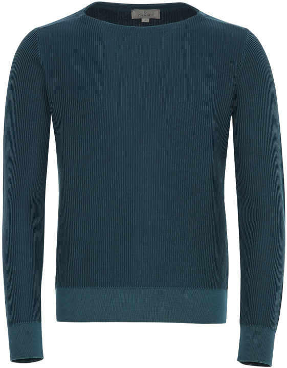 PETROL BLUE COTTON CORDUROY BOAT NECK SWEATER