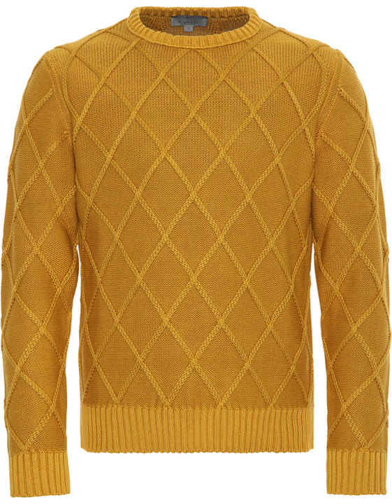 OCHRE YELLOW COTTON CREW NECK SWEATER WITH DIAMOND STITCH