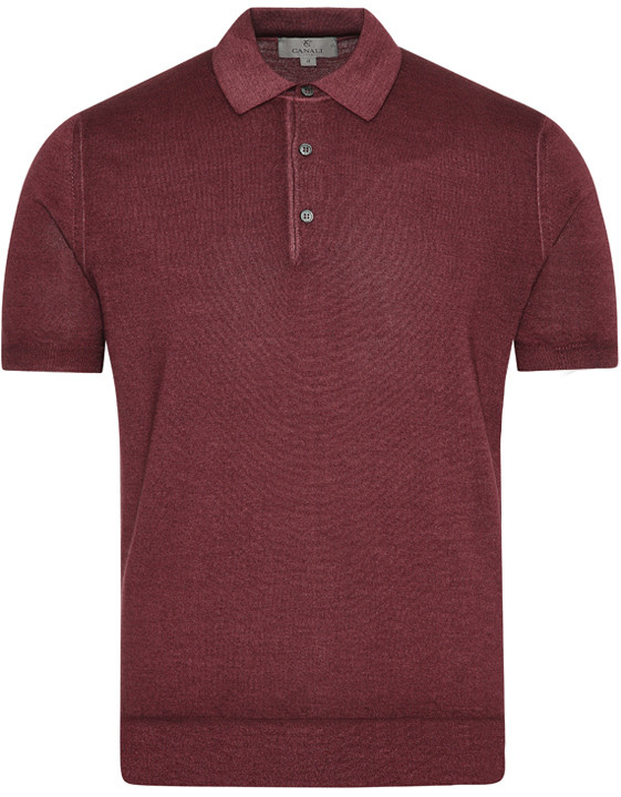 Bordeaux wool and silk polo shirt