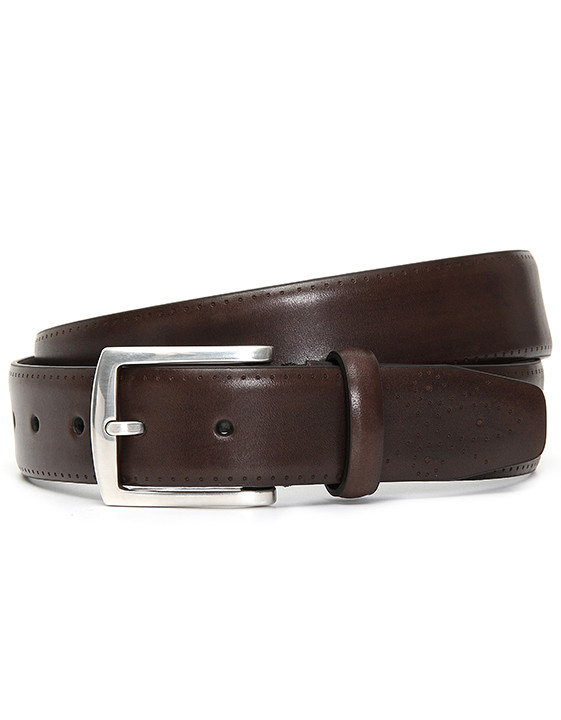 DARK BROWN LEATHER BELT WITH MEDALLION