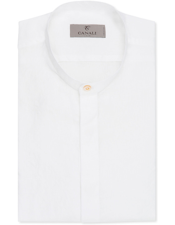 WHITE PURE LINEN OVERSIZED SHIRT WITH STAND-UP COLLAR AND POCKETS