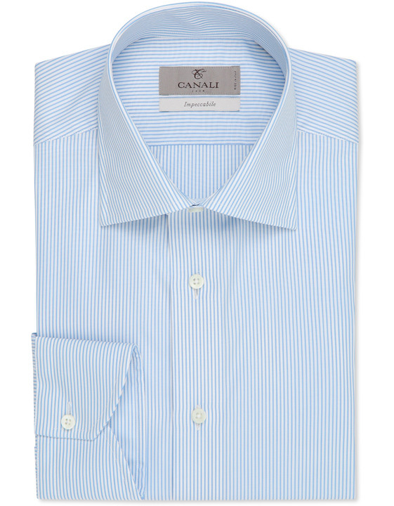 LIGHT BLUE IMPECCABILE COTTON DRESS SHIRT WITH PINSTRIPES