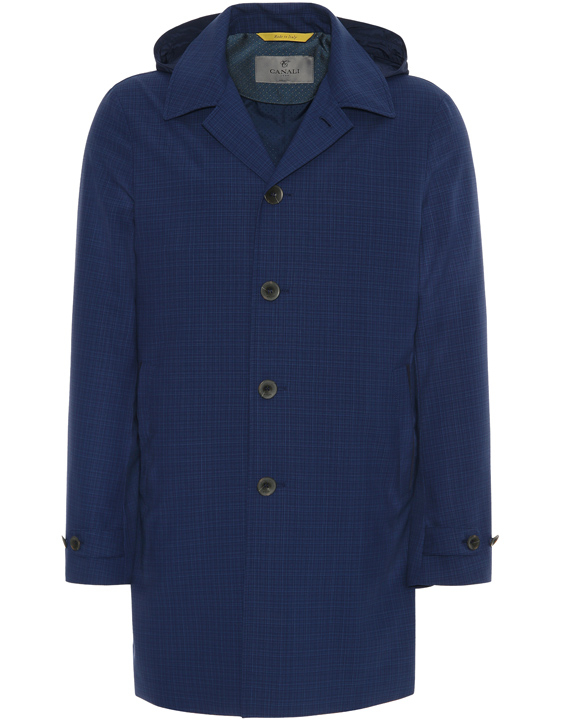 NAVY BLUE IMPECCABILE SUPER 140'S WOOL PACKABLE RAINCOAT