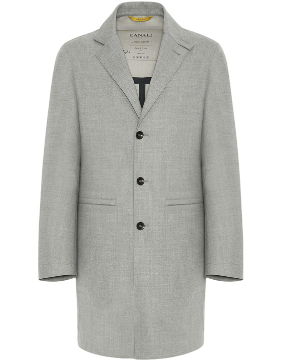 LIGHT GRAY IMPECCABILE 2.0 WOOL WATERPROOF CAR COAT