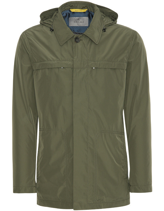 OLIVE GREEN WATER-RESISTANT CAR COAT WITH DETACHABLE HOOD