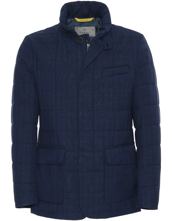 NAVY BLUE IMPECCABILE WOOL QUILTED JACKET