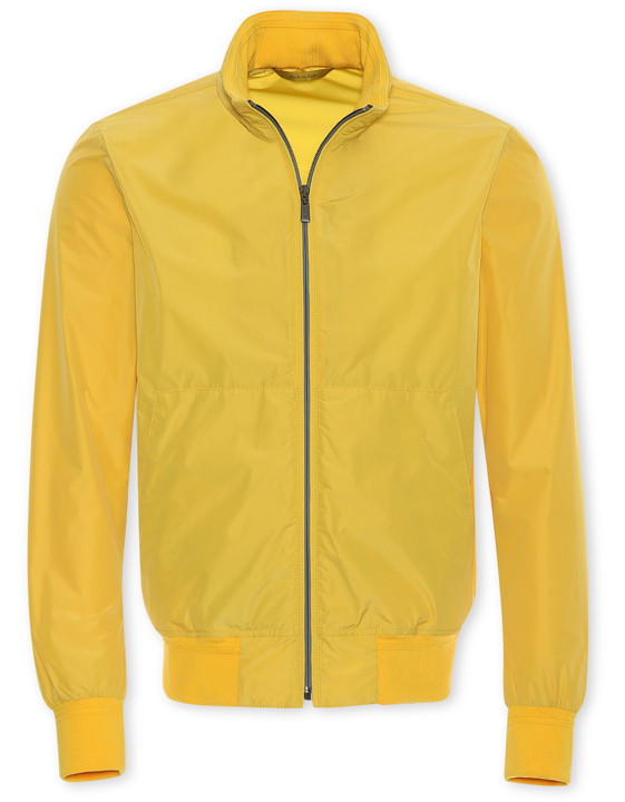 YELLOW WATERPROOF RAIN JACKET WITH HOOD AND KNIT INSERTS