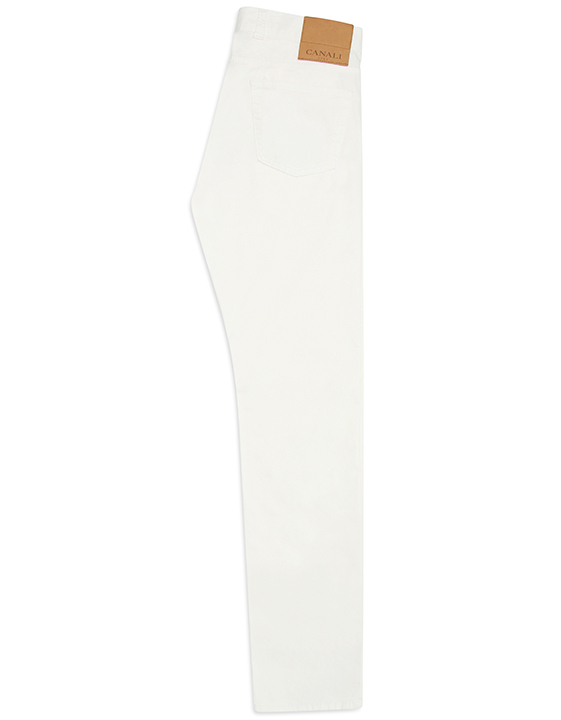 WHITE STRETCH COTTON-SILK TWILL FIVE POCKETS PANTS