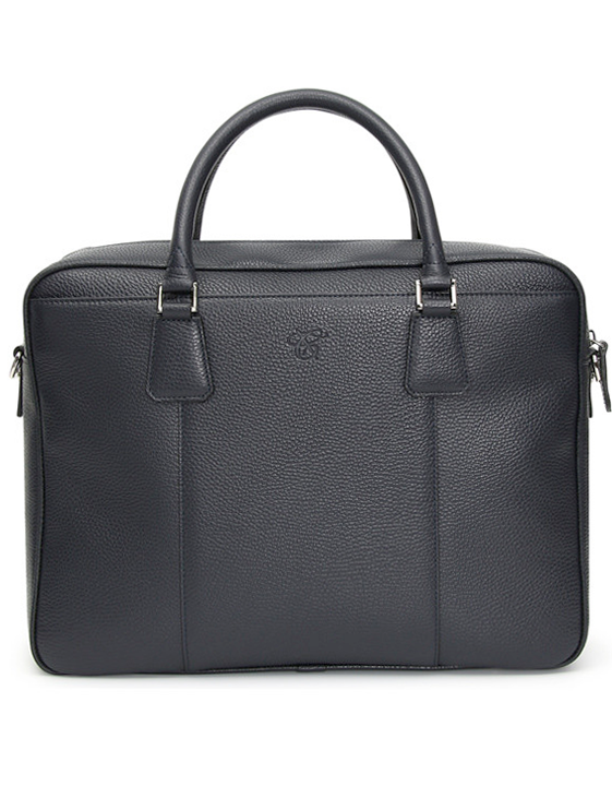 BLUE TUMBLED LEATHER TWO-HANDLE SOFT BRIEFCASE